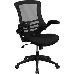 Flash Furniture BL-X-5M-BK-GG Mid-Back Mesh Chair with Nylon Base, Black