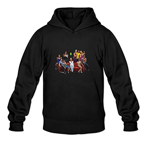 The Sims 4 Geek 100% Cotton Black Long Sleeve Hoodie For Mens Size M (The Sims 4 Merchandise compare prices)