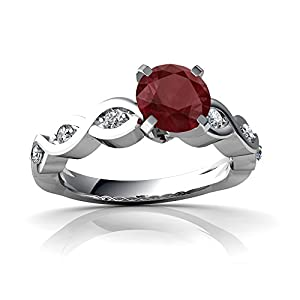 Genuine Ruby 14ct White Gold Engagement Ring - Size N
