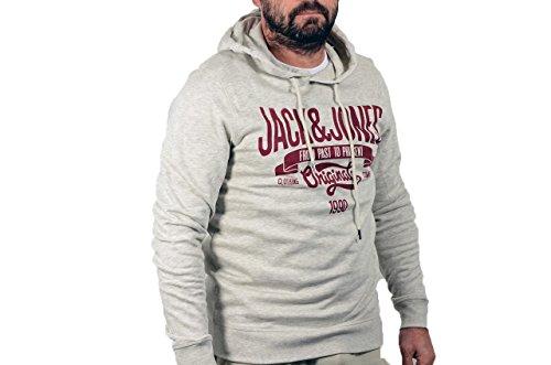 JACK JONES - Felpa uomo con cappuccio oskar sweat l grigio chiaro