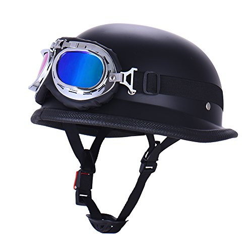 Vintage German Style Half Open Face Motorcycle Helmet With Goggles Glasses for Men Women 1
