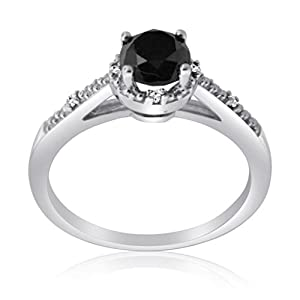 0.53 CTTW Sterling Silver Black & White Diamond ring