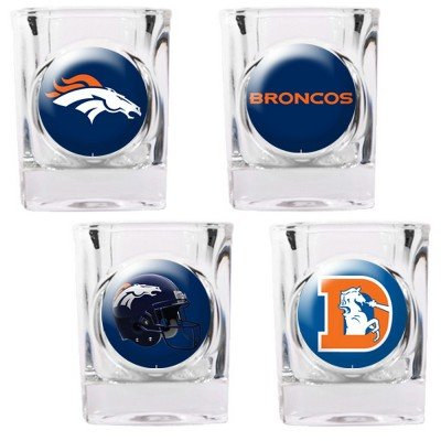 Denver Broncos - 4 Piece Square Shot Glass Set w/Individual Logos