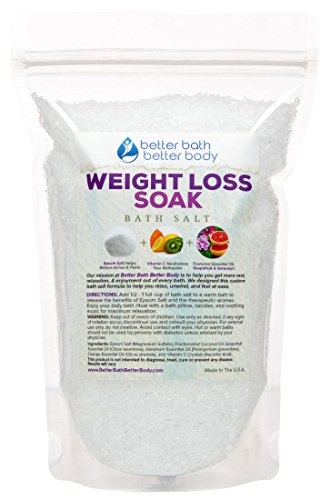 Weight Loss Bath Salt 1 Pound - Pure Epsom Salt Bath Soak With Grapefruit & Geranium Essential Oils & Vitamin C - Helps Promote Weight Loss Naturally With Pure Ingredients - No Perfumes & No Dyes