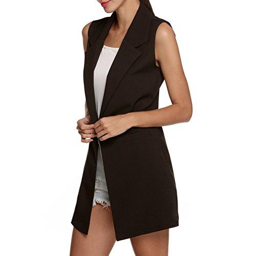 Highdas Delle donne senza maniche risvolto tasca giacca lunga Gilet Cardigan Outwear Nero L