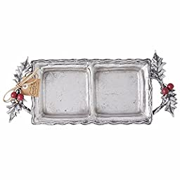 Mud Pie Holly Collection Metal Double Condiment Dish, 5.5\