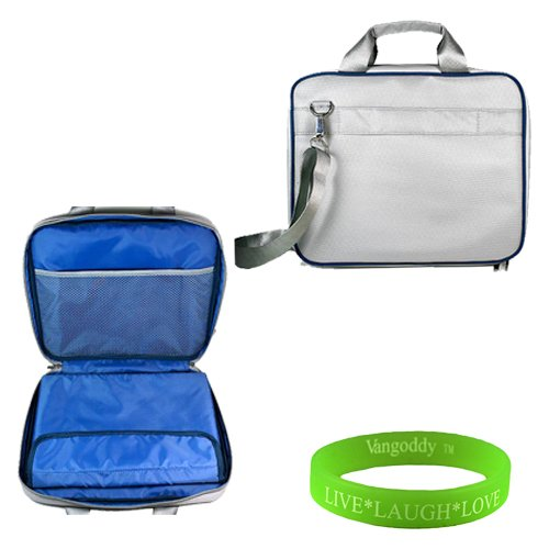 13 inch Titanium Sterling with Navy Blue Laptop Bag for the Sony VAIO T13 Ultrabook with pencil and cell phone pockets. Detachable Buckle down associate with strap and shock absorbent padding to block minor damages to your ultrabook + Vangoddy Unexploded