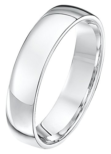 Theia Unisex Heavy Court Shape Polished Platinum Wedding Ring