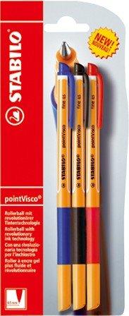 Stabilo Pointvisco - Bolígrafo de tinta de gel, color azul, negro y rojo