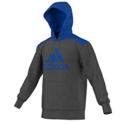 New Adidas Men\'s Ultimate Fleece Pullover Hoodie Logo Solid Grey/Blue Beauty X-Large
