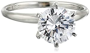 14k White Gold Round-Cut Solitaire Ring, Made with Swarovski Zirconia (3 cttw), Size 6