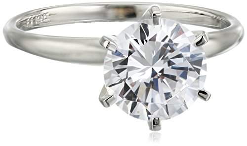 14k White Gold Round-Cut Solitaire Ring, Made with Swarovski Zirconia (3 cttw), Size 7