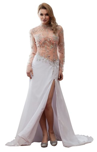 Imprincess Ip4-5973-0 Wedding Dress Fashion Design High Neck Long Sleeve Closed Back Zip Delicate Beading Long Court A-Line Multicoloured front-686900