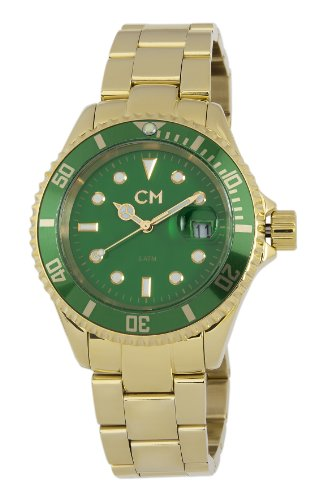 Carlo Monti Varese Men's Quartz Watch with Green Dial Analogue Display and Gold Stainless Steel Plated Bracelet CM507-299