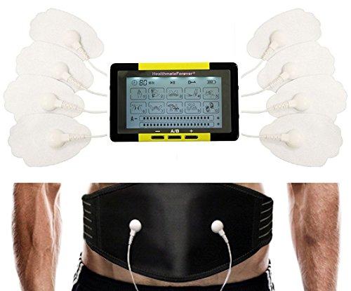 10 Modes Best Digital Pulse TOUCHSCREEN Massager + Weight Loss Belly Burning Waist Massager Belt Plus Abdominal Toner for Bodybuilding LIFETIME WARRANTY FDA CLEARED TS10ABH HealthmateForever-Yellow