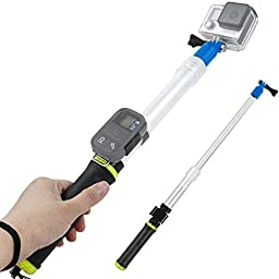 Floating Extension Pole, 15-25 Inch Extending Selfie Stick with Remote Housing Clip for GoPro Hero 1 2 3 3+ 4 4 5 session (Yellow)