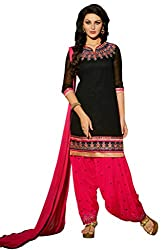 Fashion Storey New Latest Georgette Black and Pink Dress-Material.