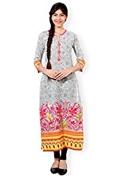 VESH Womens Straight Long Multi Coloured Print Pakistani Style Kurti, Rounded Neck with Split 'V', Embellished with Floral Embroidery Pattern