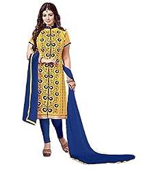 Isha Enterprise Chanderi Cotton Dress Material(ST-2410_Yellow)