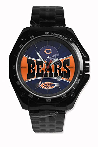 Custom Nfl Chicago Bears Team Logo Snap On Black Watch Stainless - Steel Fit Your Hoodie