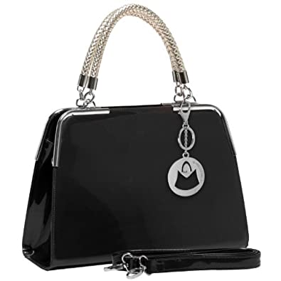 MG Collection MATANA Black Trendy PU Patent Leather Doctor Style Tote Purse