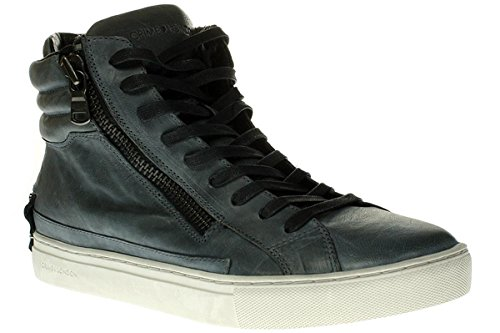 Crime London Stivaletto Uomo Sneaker Alta Leather 2 Zip Grey_42