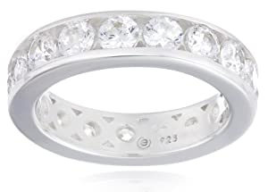 Sterling Silver Swarovski Zirconia 3cttw Channel Set Eternity Ring from Elite Group International NY Inc.- ACC