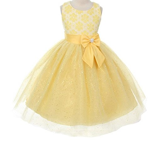 Lace Bow Sash Sparkly Sequin Tulle Flower Girls Dresses Wedding Jr. Bridesmaid Yellow 2-14 front-87613