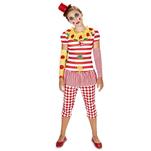 Carn-Evil Vintage Dot and Striped Clown Lady Tween Costume 0-3 (Lady Clown Costume)