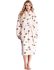 Supersoft Shawl Collar Heart Print Cosy Dressing Gown