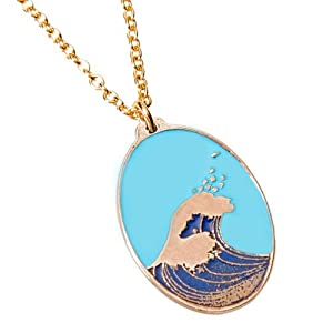 Hokusai Wave Oval Enamel Necklace on 18