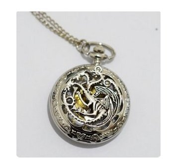 Game of Thrones Dragon Necklace Watch - Tv Series Fan Collectors Item - Novelty/jewelry Watch - Pocket Watch Necklace Pendant Simple Round