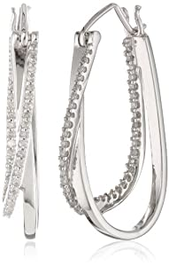 10k White Gold and Diamond Hoop Earrings (1/4 cttw, I-J Color, I2-I3 Clarity) by Amazon Curated Collection