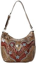 American West Desert Wildflower Zip Top Everyday Shoulder Bag,Mocha Tan/Distressed Brown/Blue,One Size