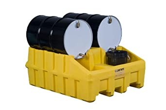 "Justrite 28666 EcoPolyBlend 66 Gallon Sump Capacity, 49"" x 59"" x 26"" Size, 3060 Load Capacity Black 100% Recycled Modular System"