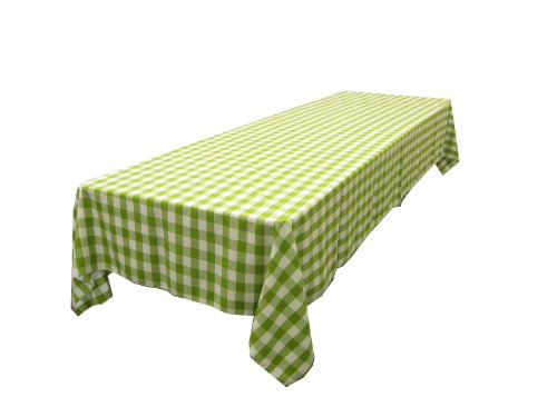 La linen checkered tablecloth 60 by 102 inch apple green for 102 inch table runners