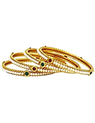 Traditional Jewellery Gold Plated Pearl Polki Bangle Set For Women & Girls By Royal Bling