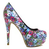 Ladies Black Floral Sequin Flower Platform Stiletto Womens Court Shoes