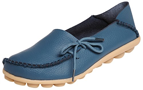 Serene Womens Leather Cowhide Casual Lace Up Flat Driving Shoes Boat Slip-On Loafers (9B(M)US, Blue)