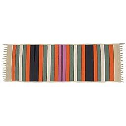 Cotton Jute Rag Rug Striped Pattern Indian Carpet Multicolor Hand Woven 70\