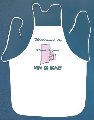 Image of Welcome to Rhode Island Now Go Home White Bib Apron 2 Pockets Kitchen BBQ Barbeque Shop (B007059OC8)