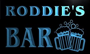 w101543 b RODDIE Name Home Bar Pub Beer Mugs Cheers Neon Light Sign