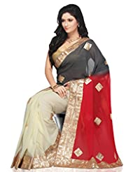 Utsav Fashion Women's Red, Grey and Off White Faux Georgette Saree with Blouse
