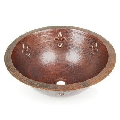 Fleur De Lis Round Copper Undermount Sink Finish: Shiny Copper, Edge: Flat