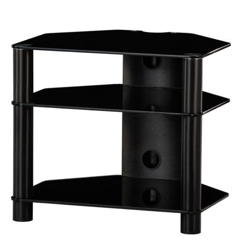 RX2130 NN - Mueble HIFI 3 estantes. Vidrio negro /Chasis negro.