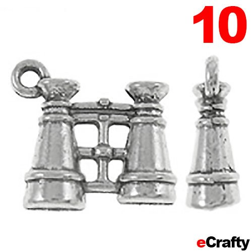 10Pc Metal Charms Binoculars 15Mm Ant Silver Plated Pewter 10Pc