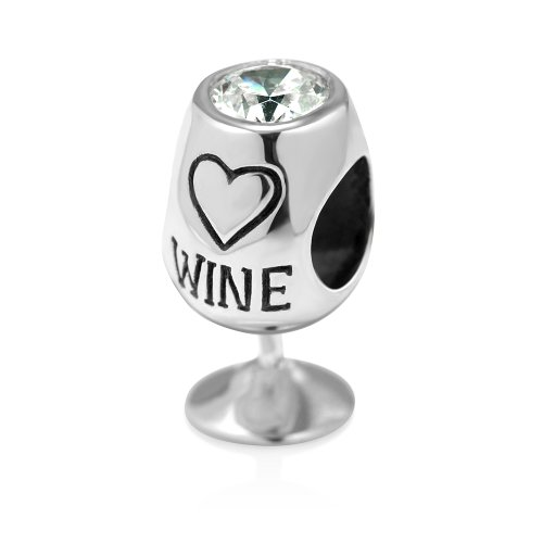 925 Sterling Silver Simulated Cubic Zirconia Love Wine Glass Bead Charm Fits Pandora Bracelet