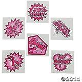 72 SUPERHERO Pink Ribbon TATTOOS - BREAST Cancer Awareness - Fundraiser GIVEAWAYS - Favors