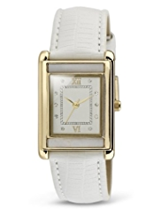 M&S Collection Diamanté Mother of Pearl Rectangular Face Watch