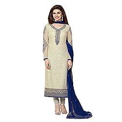 Shreenath Creation Women's Prachi Georgette Designer Salwar Suit (030Beige & Off White Free size)